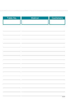 Restaurant Duplicate / Triplicate Order Form