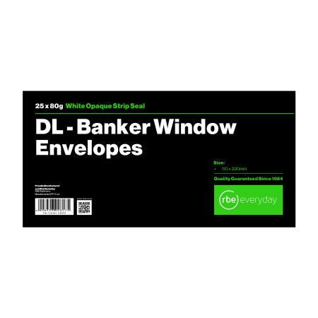 DL Banker White Windowed Envelope