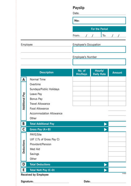 Employment Contract & Payslip Book Forms