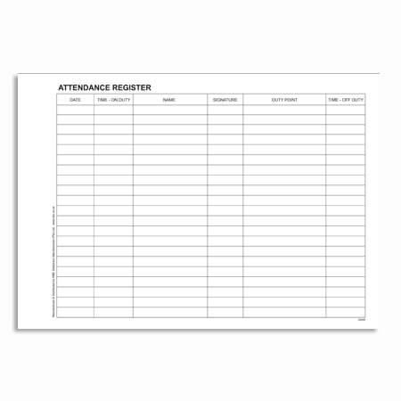 Security Personnel Attendance Register