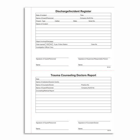 Discharge, Incident and Trauma Counseling Register