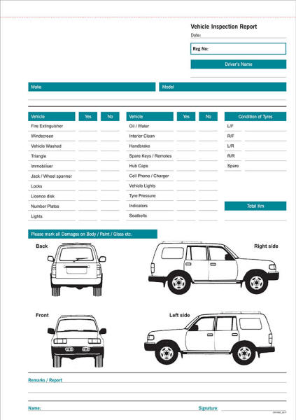 A4 Vehicle Inspection Book Form