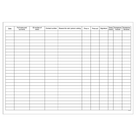 Covid-19 Visitor Screening Register - Inside Form