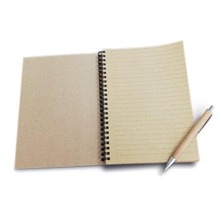 A5 Kraft Lined Spiral Bound Notebook - Inside