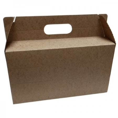 Large Fluted Kraft Gift Box with Handle