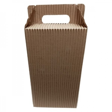 Fluted Kraft 2 Wine Bottle with Handle Gift Box